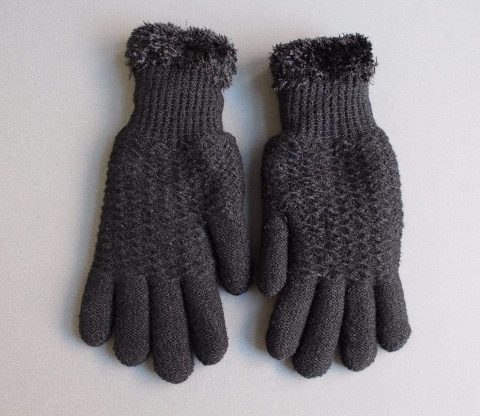 Black lined gloves faux fur knit stretch gloves winter super warm ladies