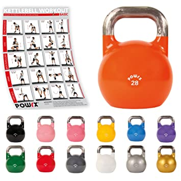 POWRX Kettlebell Pesa Rusa Competición 4-28 kg + PDF Workout (28 kg): Amazon.es: Deportes y aire libre