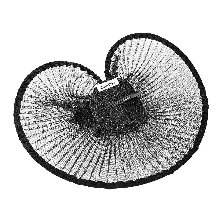 Deevoov Women Fascinator Hats Hair Clip Feather Ladies Derby Hat Bride Headwear Cocktail Banquet Wedding Black