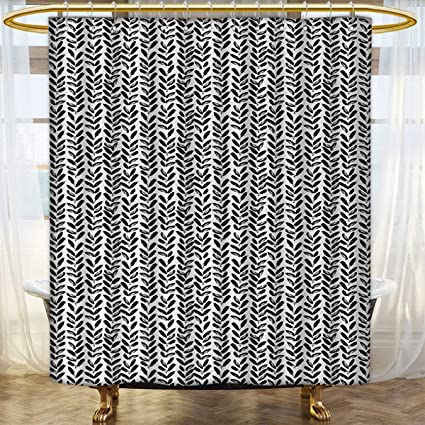 Anhounine Black And White Shower Curtains Sets Bathroom Modern Grunge Botany Motif Monochrome Brush Paint Style