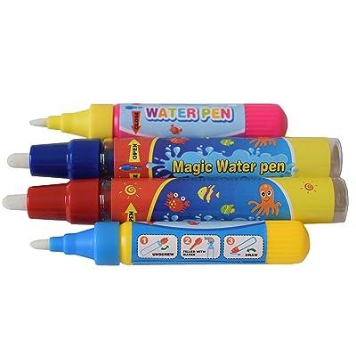 4 x Rangebow Aqua Water griffonnage de remplacement stylos 2 x grand 2 petits pour tous les tapis de dessin Aqua dessin planches de peinture à l'eau de dessin Doodle Magic quatre stylos pour 3 ans plu