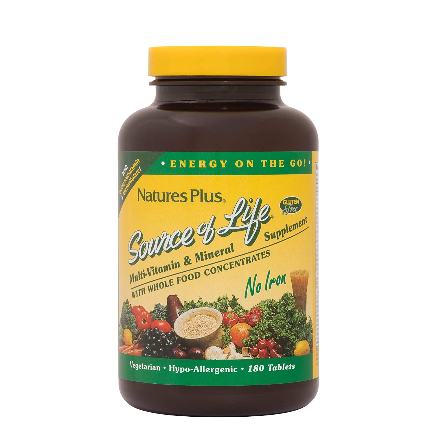 NaturesPlus Source of Life No Iron Tablets – 180 Vegetarian Tablets – Whole Food Multivitamin Mineral Supplement, Energy Immunity Booster- Gluten-Free – 60 Servings