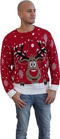 CelebLook Hombre Vintage Reno De Navidad Suéter Cuello Redondo suéter pulóver