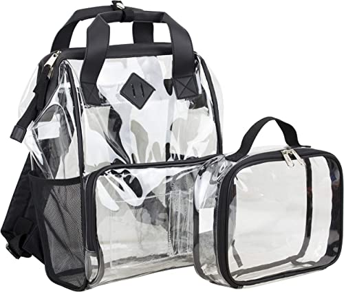 Eastsport Double Handle Clear Backpack Combo with Clear Pouch Adjustable Padded Straps Tote Alternative, Black Trim