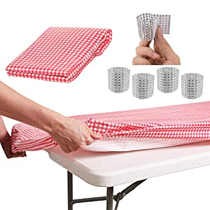 Tablecloth for 8ft folding table -Fitted Rectangular Table Cloth for 8Foot – size 32 x 96 inch - Plastic Vinyl Flannel Backed With Elastic Rim- For Christmas Parties - by ATK (RED CHECKERED)