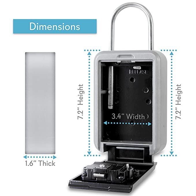 Padlock Key Safe Security Box - Realtor Hanging Steel Metal Coded Key Holder Keeper Cabinet w/ 4-Digit Combination Code Lock, Up to 5 Spare Door Keys ...