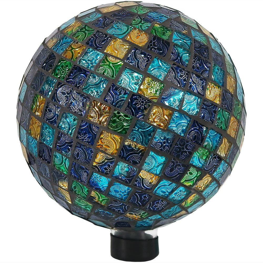 Sunnydaze Mosaic Gazing Globe Glass Garden Ball, Outdoor Lawn and Yard Ornament, Blue, 10 Inch