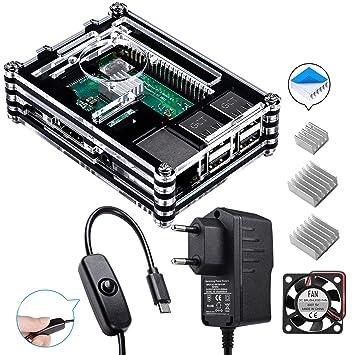 para Raspberry Pi 3 b+ Caja con Cargador de 5V / 2.5A con Conector ON/Off + 3X Disipador + Ventilador Compatible con Case Raspberry Pi 3 2 Modelo b+ b ...