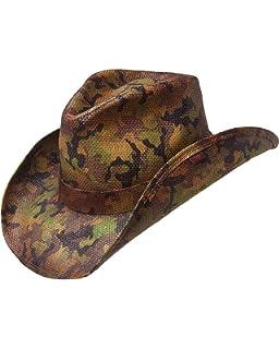 679bcfefa5b Armycrew Woodland Camouflage Print Western Paper Straw Cowboy Hat ...
