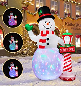 inslife 8Ft Christmas Inflatable Snowman Decoration with North Pole Street Lamp Multi-Color Light Up