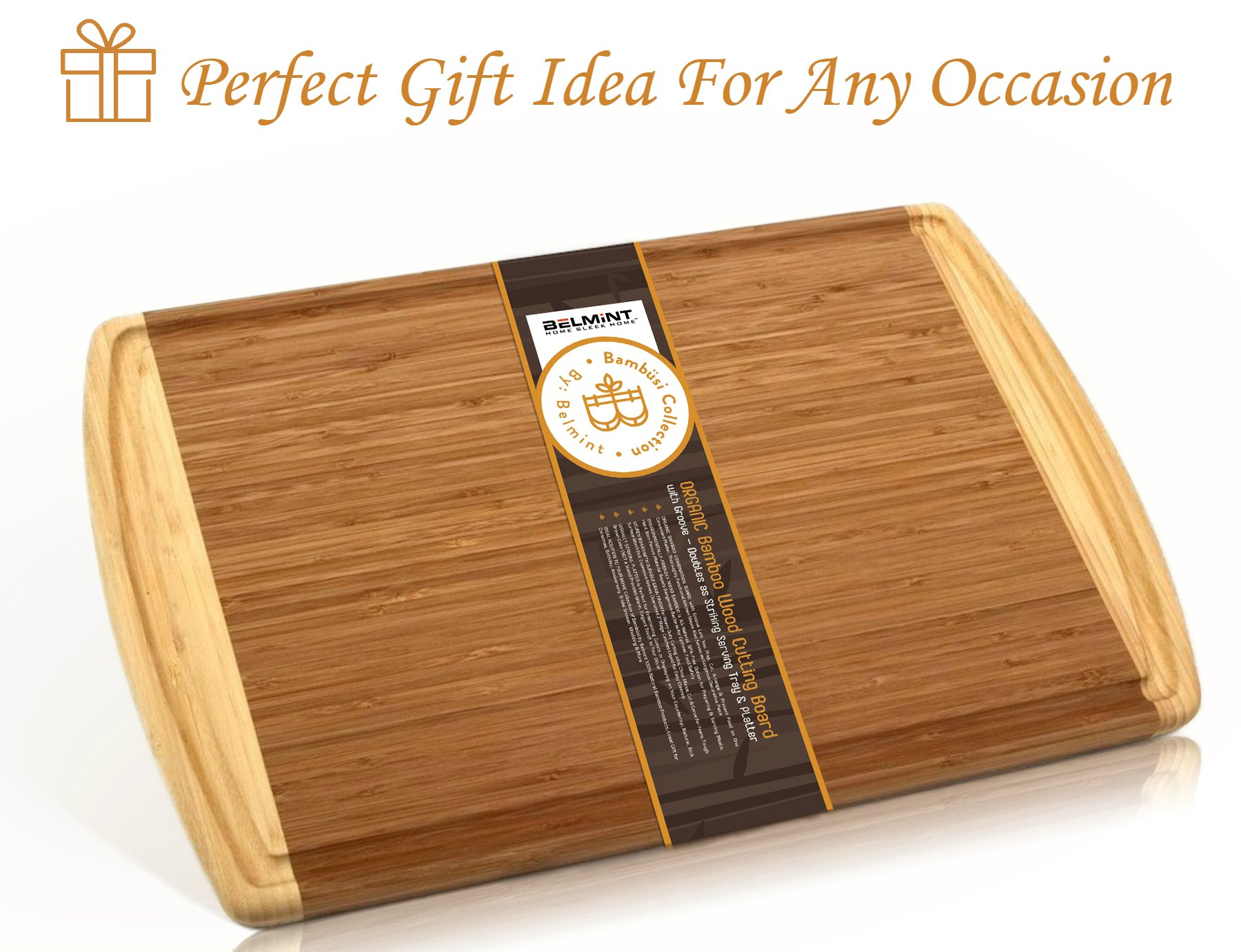 Premium Bamboo Cutting Board Set of 2 Large Chopping Board with Deep juice Groove, Thick Butcher Block. Perfect Gift Idea. By Bambusi