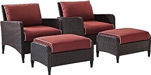 Crosley Furniture Kiawah 4-Piece Outdoor Wicker Seating Set with Sangria Cushions - Brown