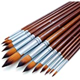 Artist Watercolor Paint Brushes Set 13pcs - Round Pointed Tip Soft Anti-Shedding Nylon Hair Wood Long Handle - Detail…