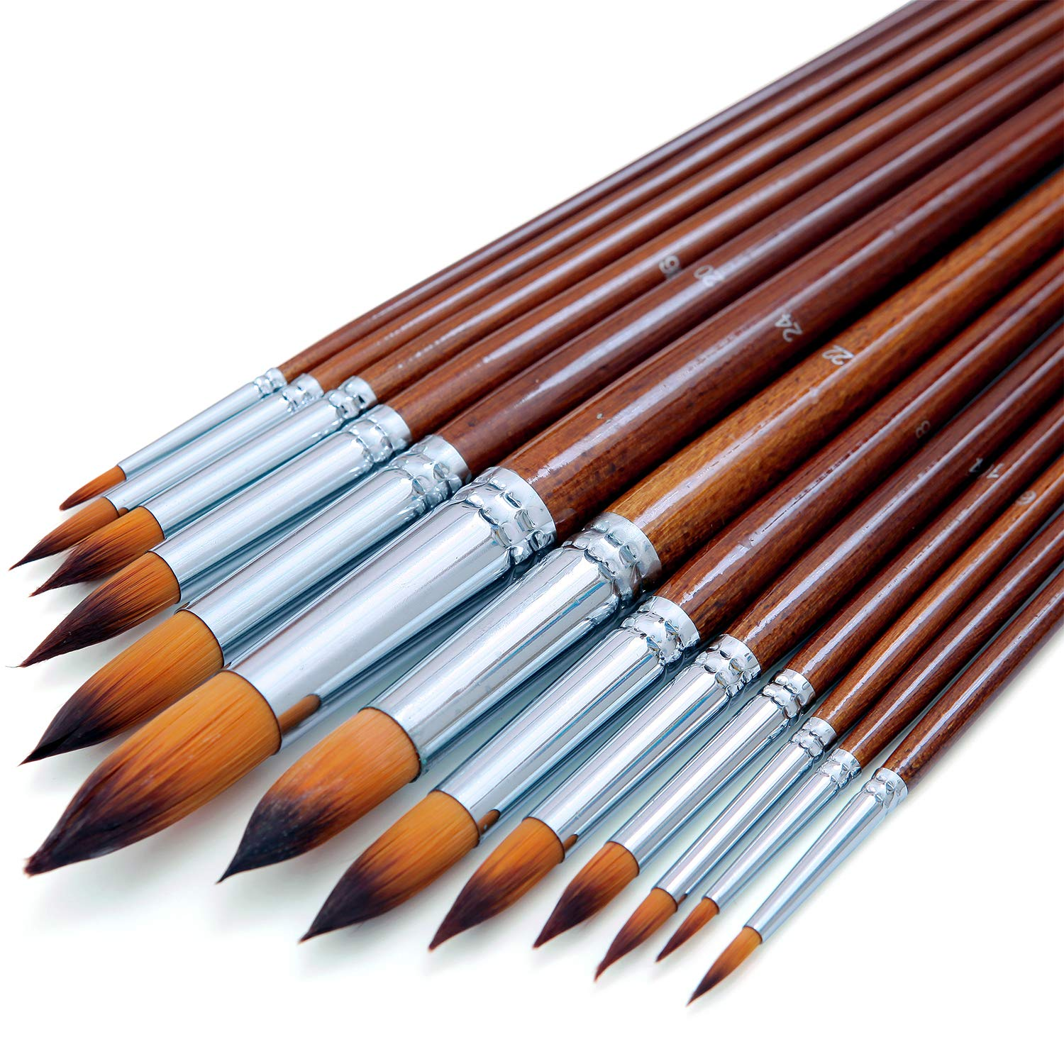 Artist Watercolor Paint Brushes Set 13pcs - Round Pointed Tip Soft Anti-Shedding Nylon Hair Wood Long Handle - Detail Paint Brush for Watercolor, Acrylics, Ink, Gouache, Oil, Tempera, Paint by Numbers by DUGATO