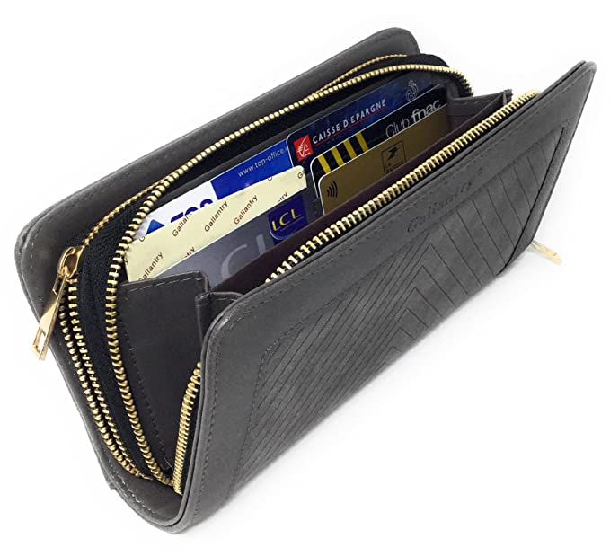 e672ae76f8e6bf Gallantry - grand portefeuille tout en un porte carte - papier et porte  monnaie grande capacité pour femme chic et tendance en cuir PU et daim   Amazon.fr  ...