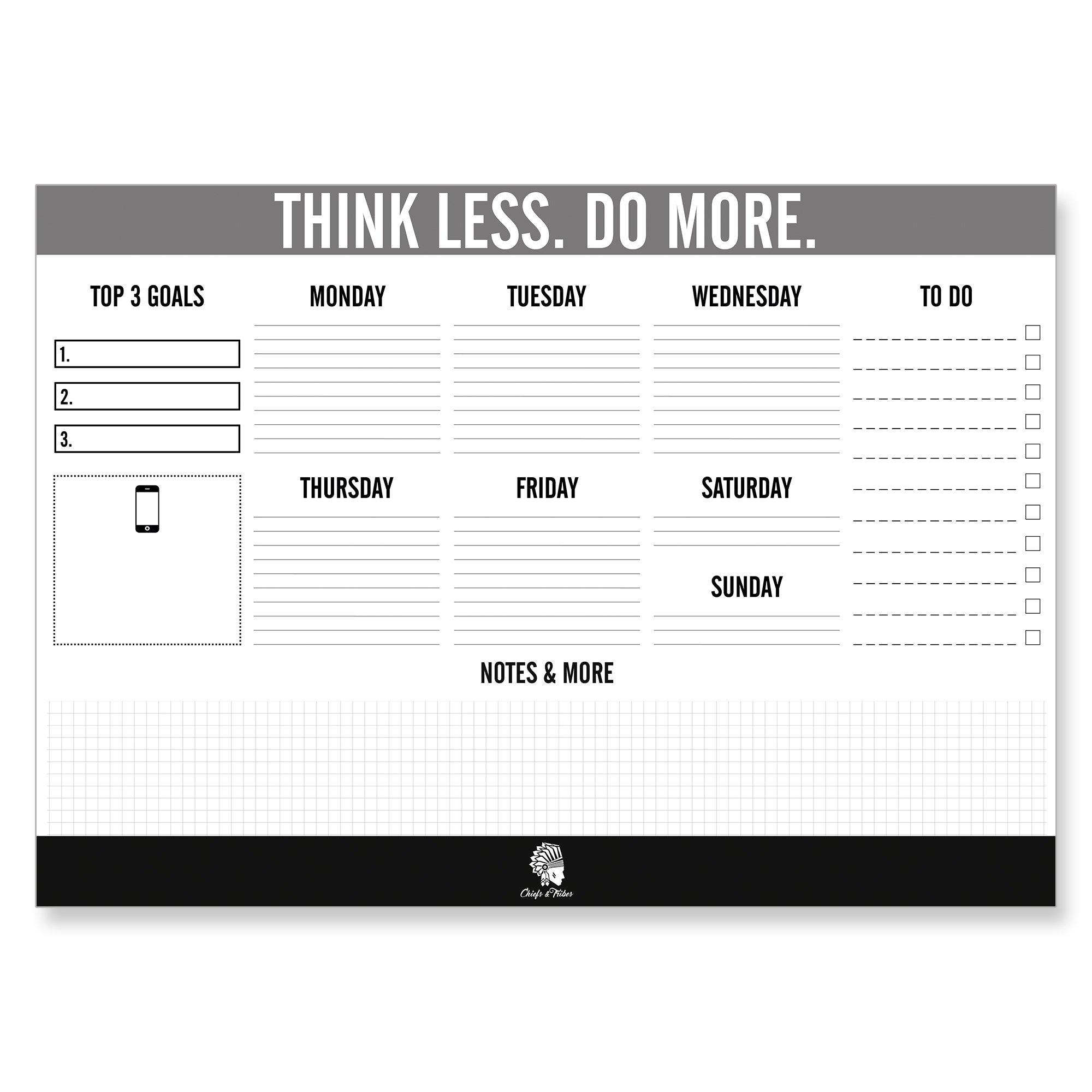 Chiefs & Tribes Desk Pad Calendar for Writing I Paper: White I Tear-Off Sheets I for Dates & Notes I Daily Planner & Weekly Overview I to-Do List 2018