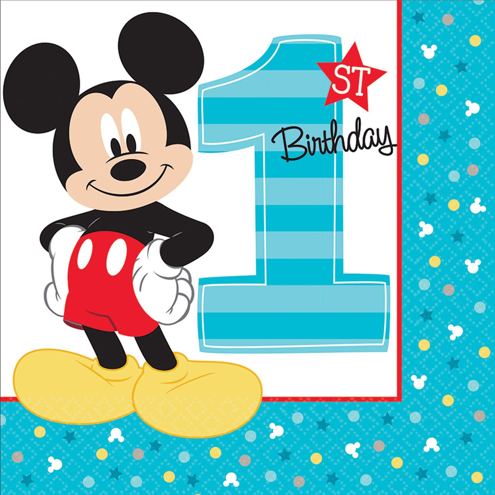 Mickey Mouse 1st Birthday Party Supplies 48 Pack Lunch Napkins by BirthdayExpress