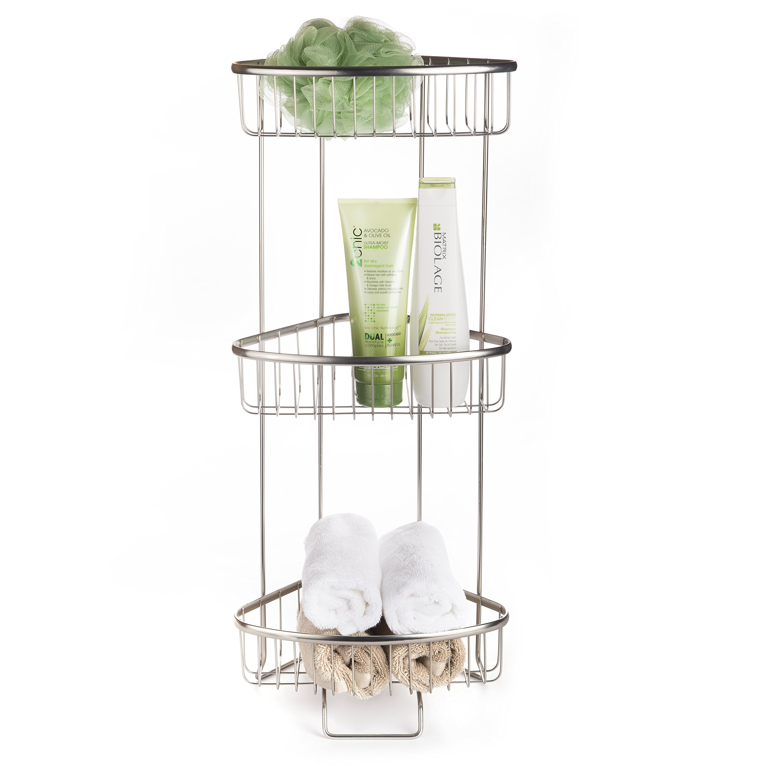 AMG and Enchante Accessories Free Standing Bathroom Spa Tower Storage Caddy, FC100003 SNI, Satin Nickel