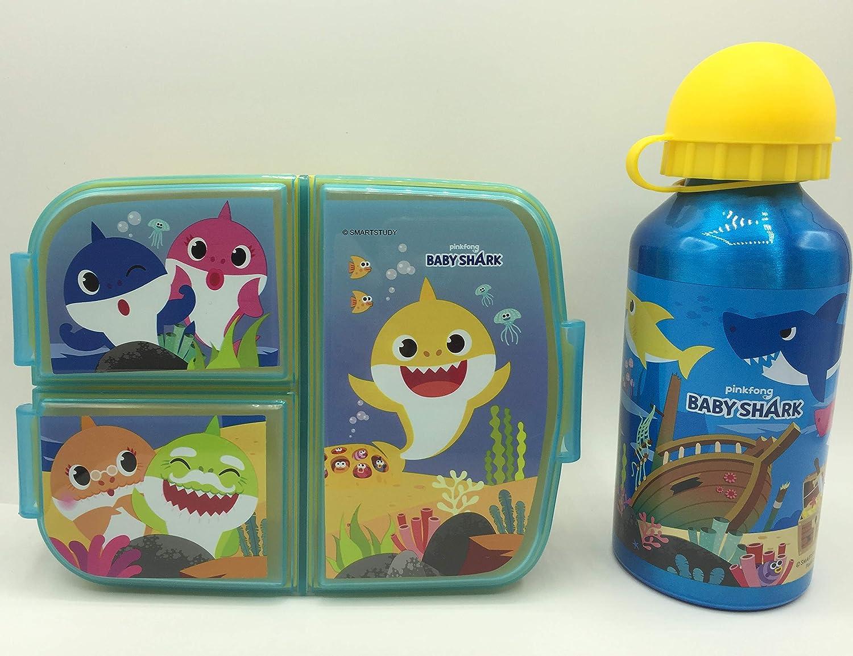 CM Set Botella de Agua de Aluminio Infantil y Fiambrera con 3 Compartimentos para Colocar los almuerzos - para niñas, cantimplora a Prueba de Fugas sin BPA 400ml (Celeste-TIB)