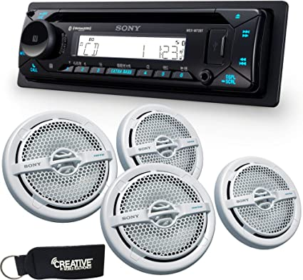 "Sound Marine White Double Cone UV Resistant 40 Watt 3/"" Stereo Speakers"