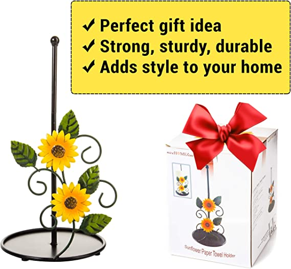 Black Metal Rustic Stand For Countertop Sunflower Kitchen Decor And Accessories Decorations Paper Towel Holder Farmhouse Stuff Holders Kolenik Dining