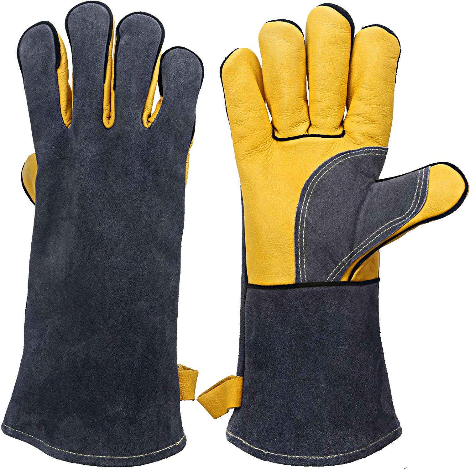 KIM YUAN Extreme Heat/Fire Resistant Gloves Leather with Kevlar Stitching, Mitts Perfect for Welding/Oven/Grill/BBQ/Mig/Fireplace/Stove/Pot Holder/Tig Welder/Animal Handling, (14in-greay)