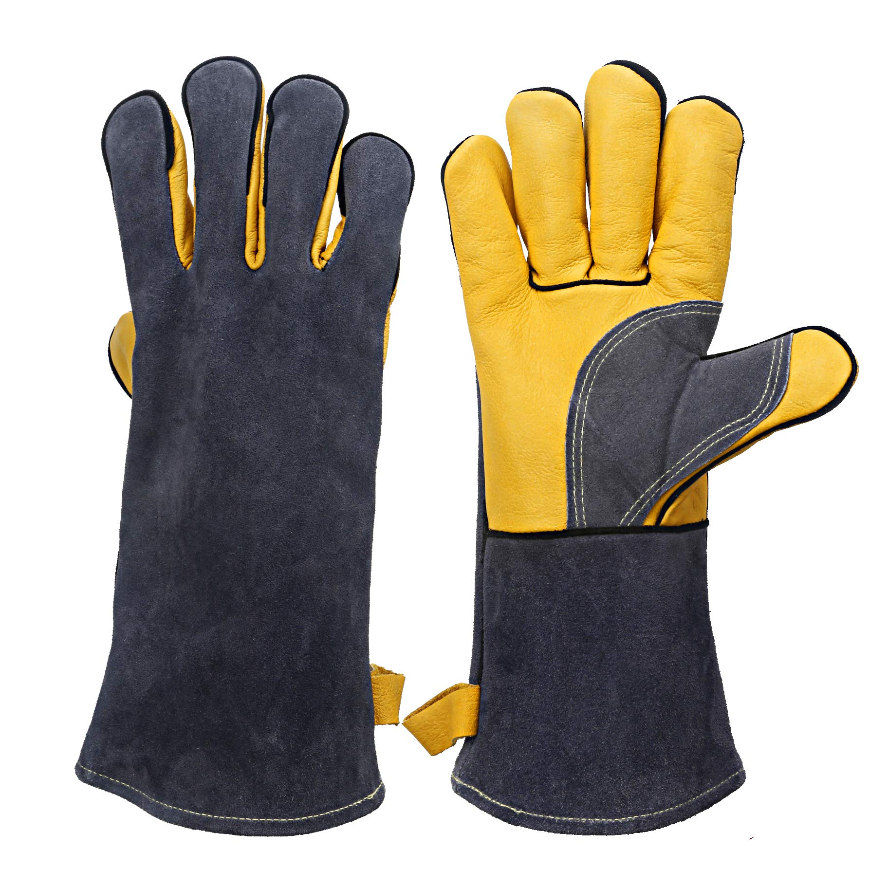 KIM YUAN Extreme Heat & Fire Resistant Gloves Leather with Kevlar Stitching,Perfect for Fireplace, Stove, Oven, Grill, Welding, BBQ, Mig, Pot Holder, Animal Handling, Grey-Yellow 14inches