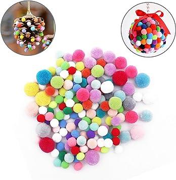 Bolas de Fieltro Pompones - Pack de 150 Piezas Bolas Colores 4 Colores Mezclados Suministros Pasatiempos Decoraciones Manualidades – Proyectos Niños – Bolitas de Colores Variados: Amazon.es: Juguetes y juegos