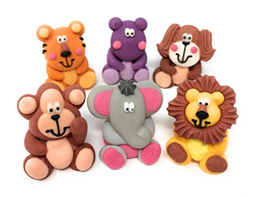 3D Jungle Animal Cake Decorations Toppers   Lion, Tiger, Elephant, Hippo, Monkey & Dog   Cupcake Toppers (12)