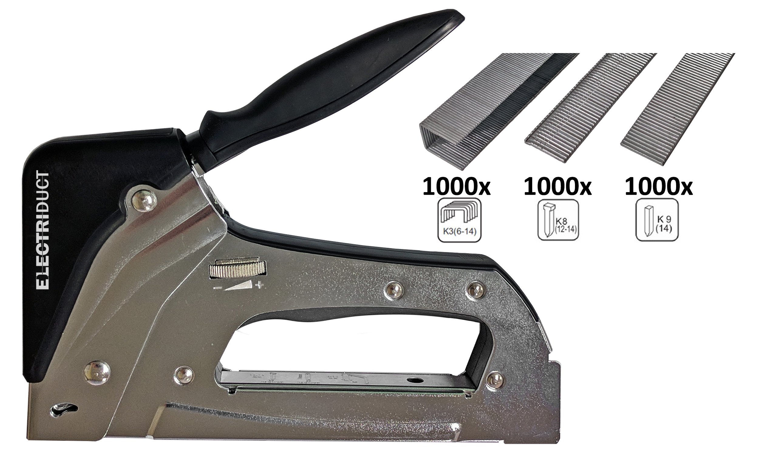 Metal 3 in 1 Staple Gun TMZ3.1 Model with 1000 Staples, 1000 Nails & 1000 Brad Nails