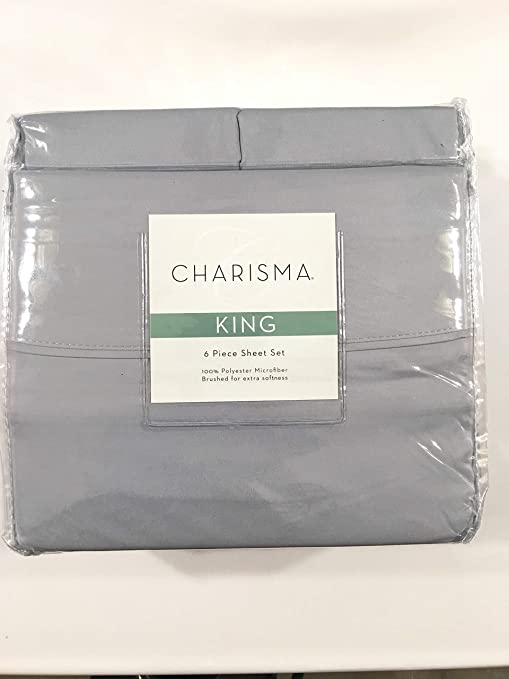 """New Charisma Queen 6pc Sheet Set 100/% Microfiber Polyester Grey /""""Cloud/"""" Solid"""