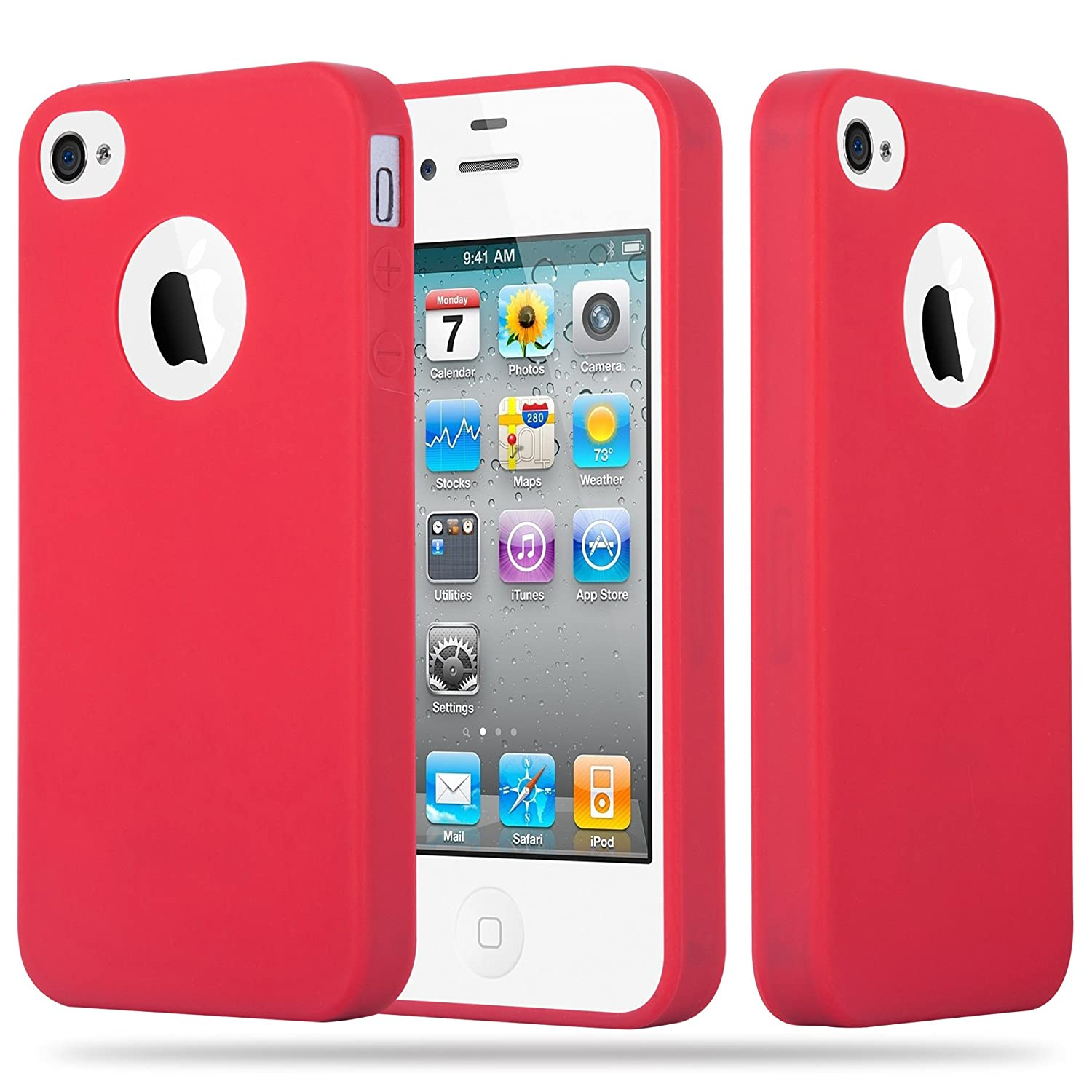 Cadorabo Funda para Apple iPhone 4 / iPhone 4S en Candy Rojo: Amazon.es: Electrónica