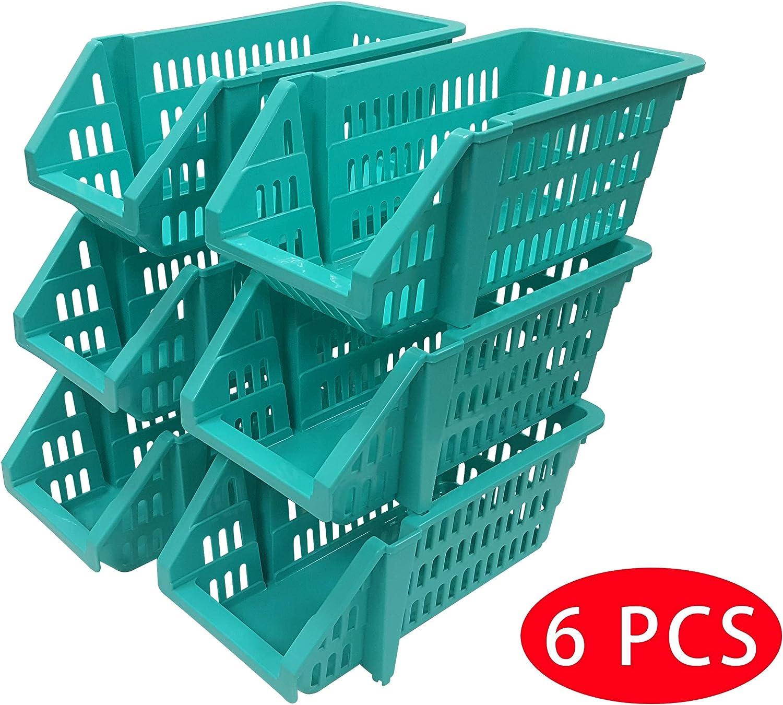 Food Toys Set of 6 Macro Giant Stackable Storage Basket Blue Color for Tools Fruit
