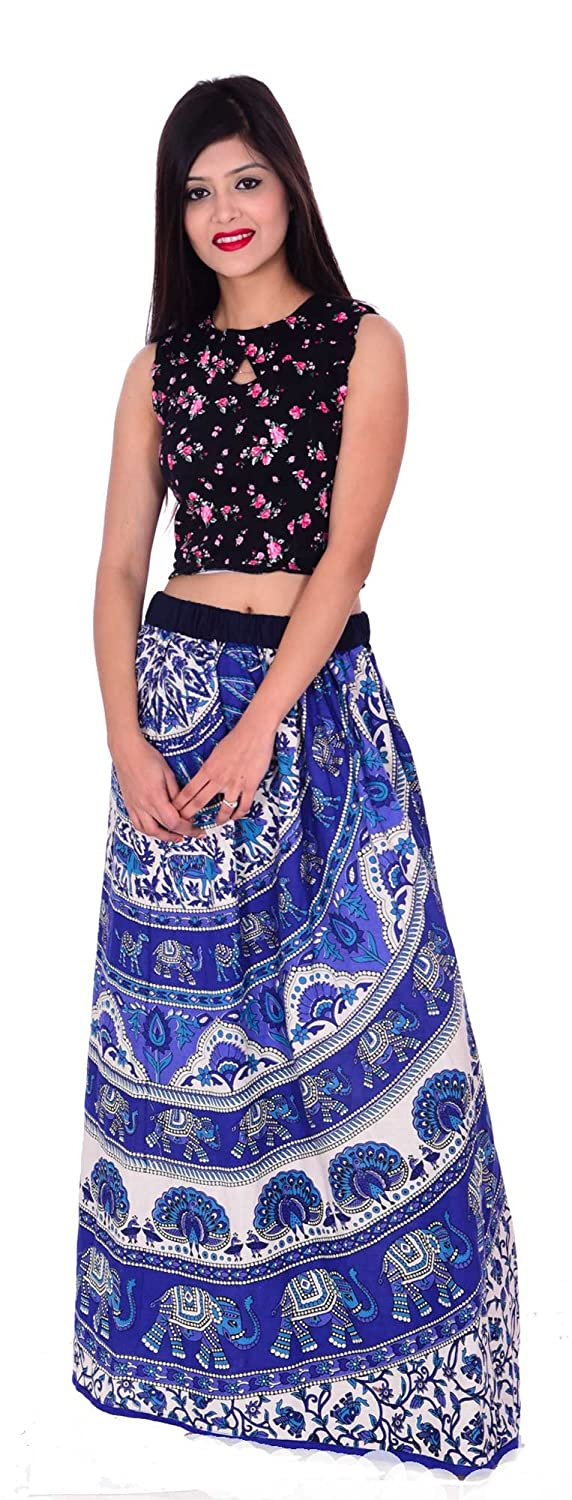 100% cotton Indian Long Skirt Hippie Women Plus size Blue color Animal Print