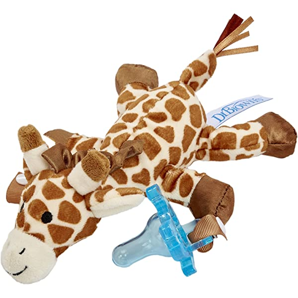 0 Months Plus Dr Giraffe with Blue Brown/'s Lovey Pacifier and Teether Holder