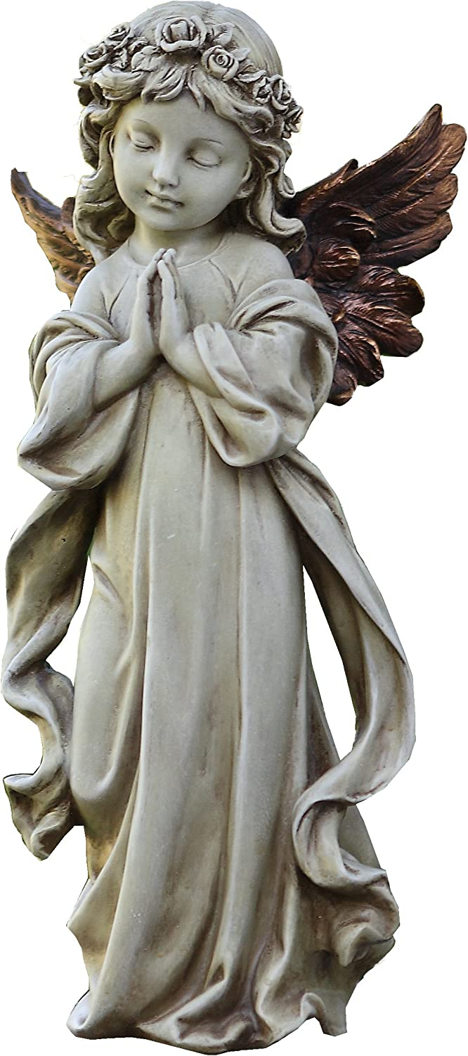 Napco 11231 Praying Angel with Bronze Wings Garden Statue, 12.5""