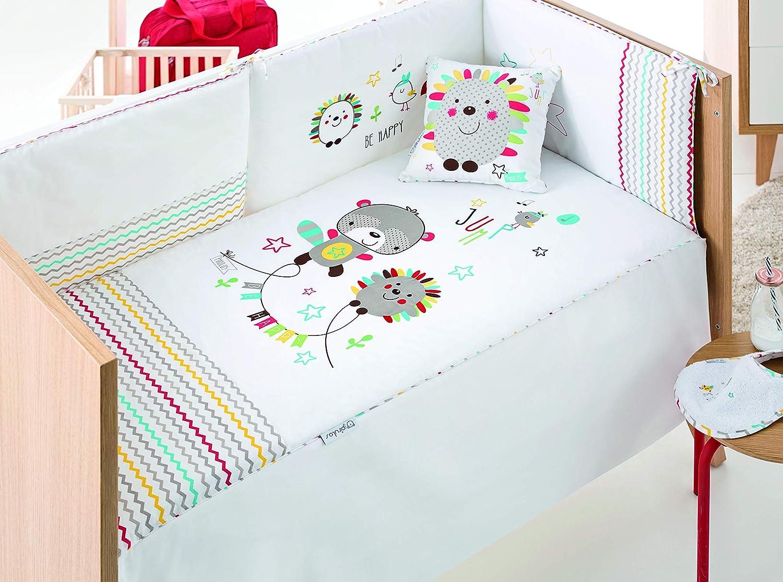 pirulos 24911600Steppdecke, Nestchen und Kissen, Motiv Espin, 62x 125cm, weiß und Leinen