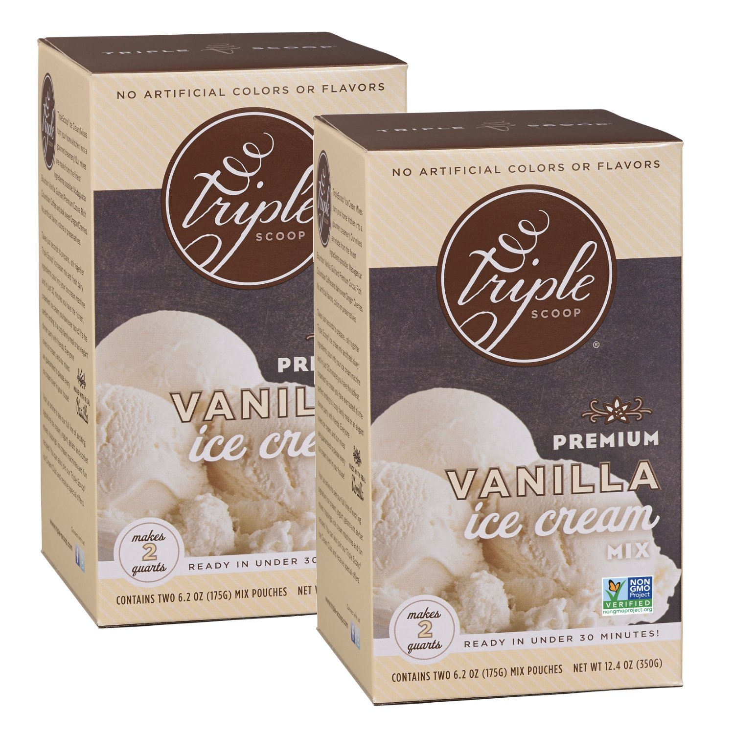 Triple Scoop Ice Cream Mix, Premium Vanilla, starter for use with home ice cream maker, non-gmo, no artificial colors or flavors, ready in under 30 mins, makes 4 qts (2 15oz boxes)