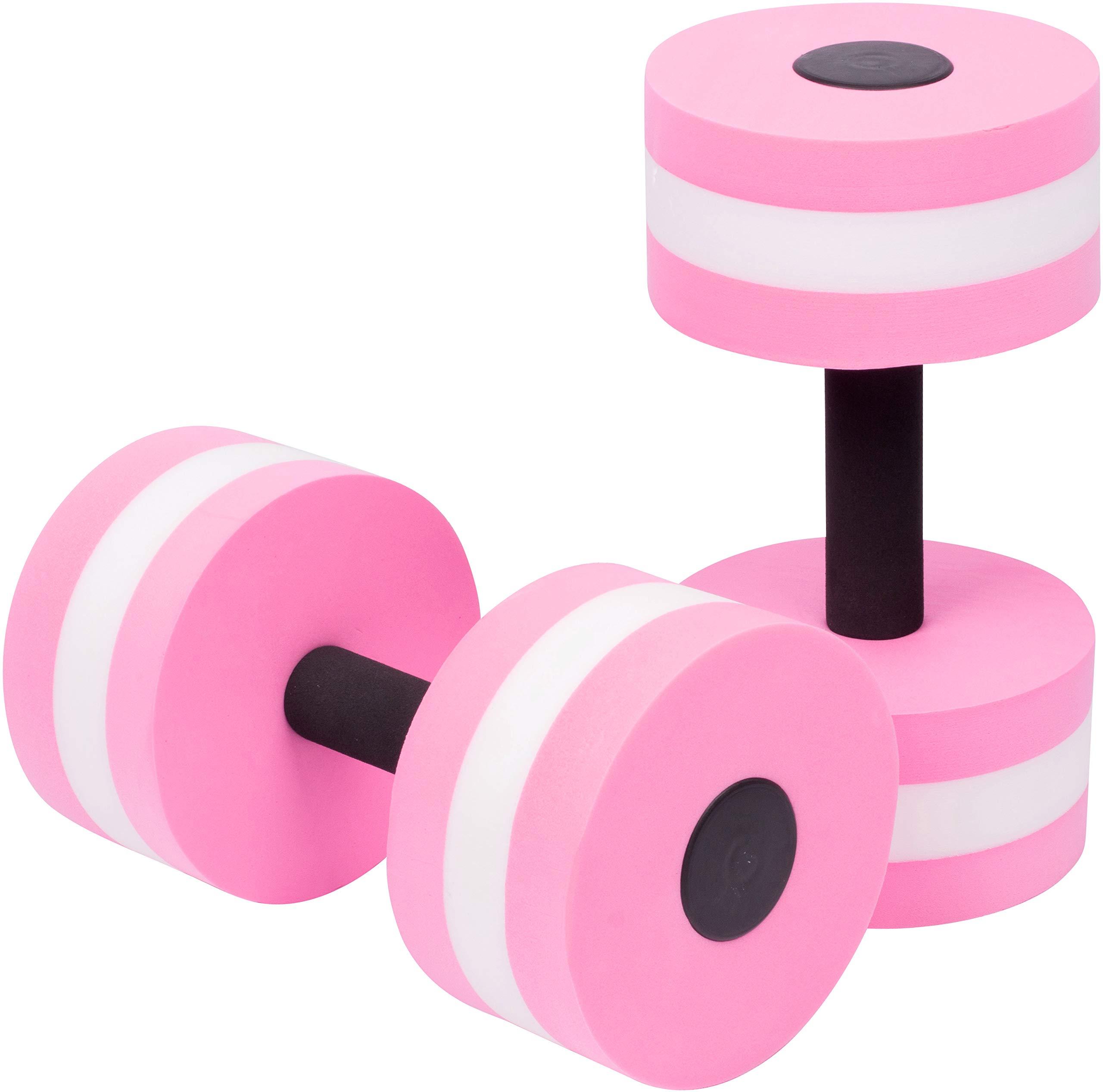 Trademark Innovations Aquatic Exercise Dumbells - Set of 2 - for Water Aerobics (Dark Pink)