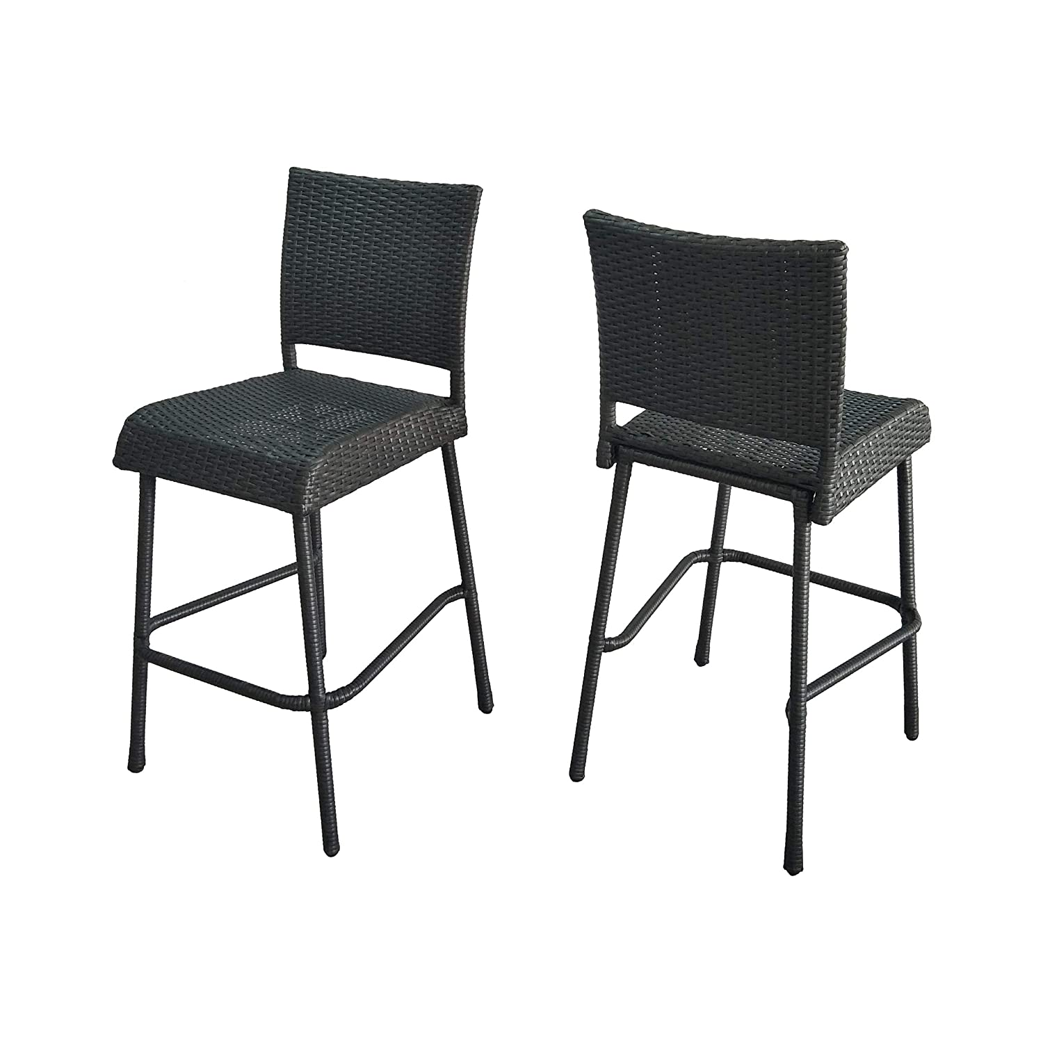 Image of Christopher Knight Home 305812 Jiro Outdoor Wicker Barstool, Gray Bar Sets