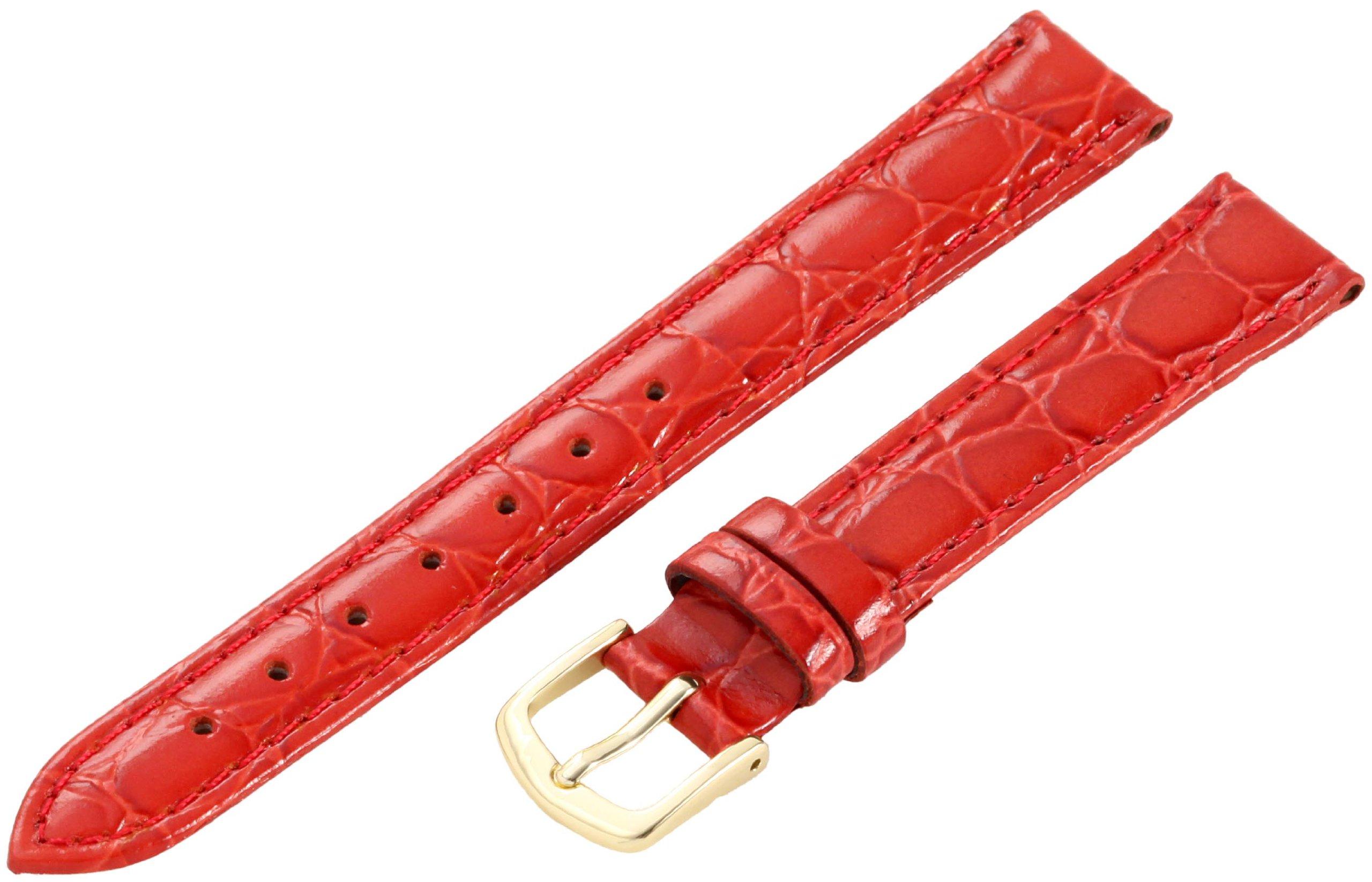 Hadley-Roma Women's LSL717RQ 140 14-mm Red Crocodile Grain Watch Strap