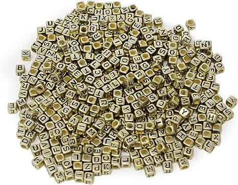 100pcs 6mm cube gold mixed alphabet letter  beads