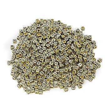 ESUMIC® 500PCS 6mm Acrylic Plastic Letter Beads Colorful Spacer Cube Alphabet  Beads for DIY Bracelets 3b149515e68e