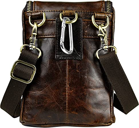 The Black Leaokuu Mens Genuine Leather Mini Messenger Shoulder Bag Pouch Hook Waist Bag Pack 611-34