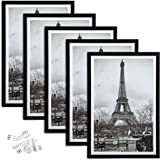 upsimples 12x18 Picture Frame Set of 5,Display Pictures 11x17 with Mat or 12x18 Without Mat,Wall Gallery Photo Frames…