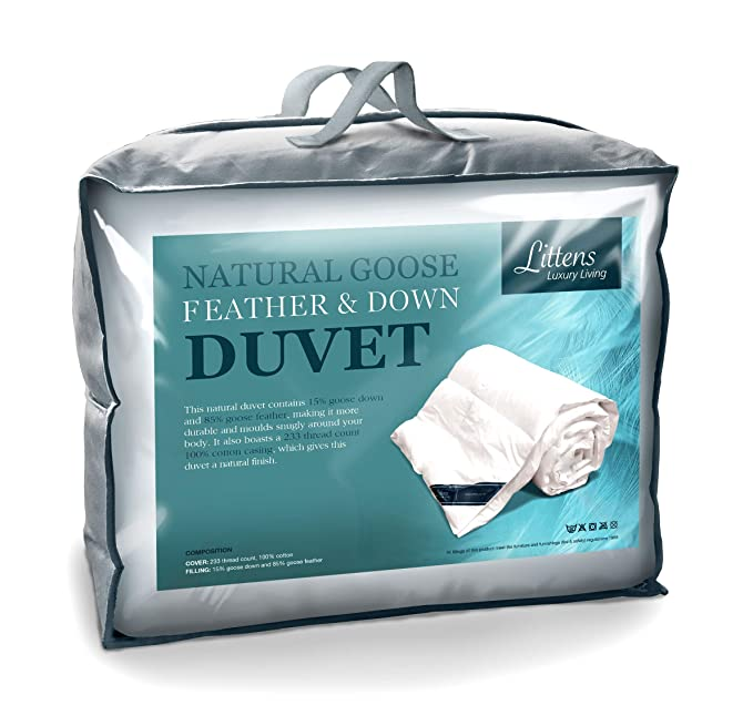 3021f243516 Luxury White Goose Feather & Down Duvet Quilt - 13.5 Tog Double Size - 100%  Cotton Anti Dust Mite & Down Proof Fabric: Amazon.co.uk: Kitchen & Home