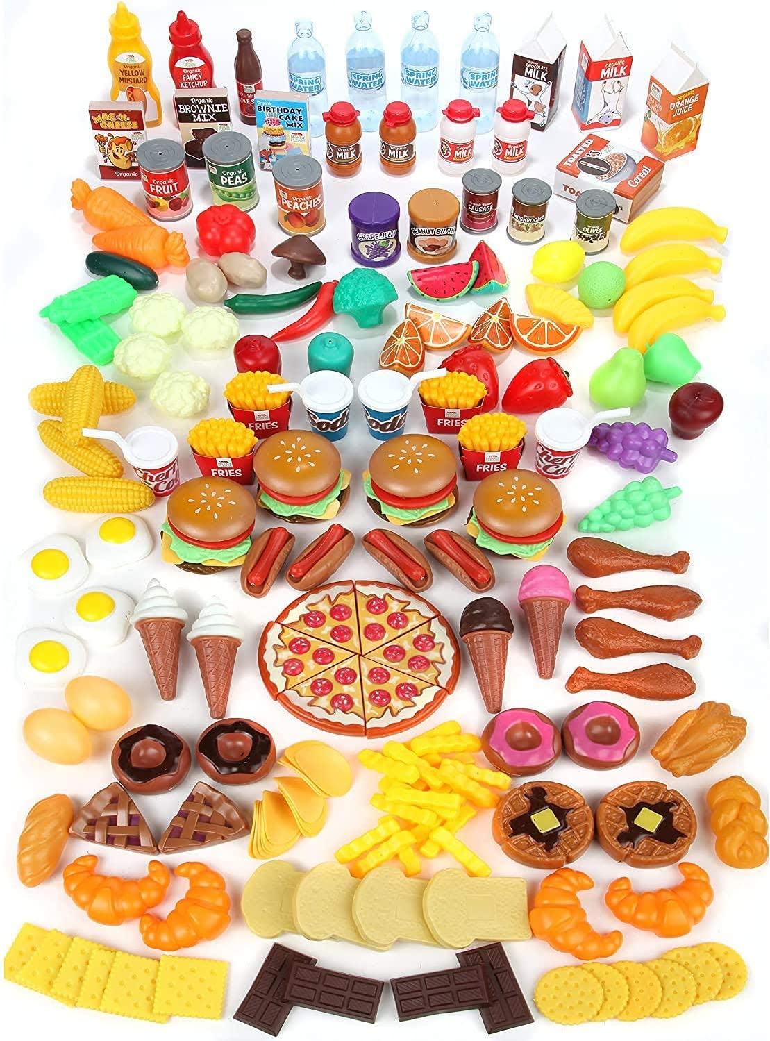 MEDca Kids Play Food Set - 130 Piece Pretend Play Food Collection - Assorted Fake Food Set Includes Fruits Vegetables Snacks Dessert Juices Canned Goods and More for Boys and Girls