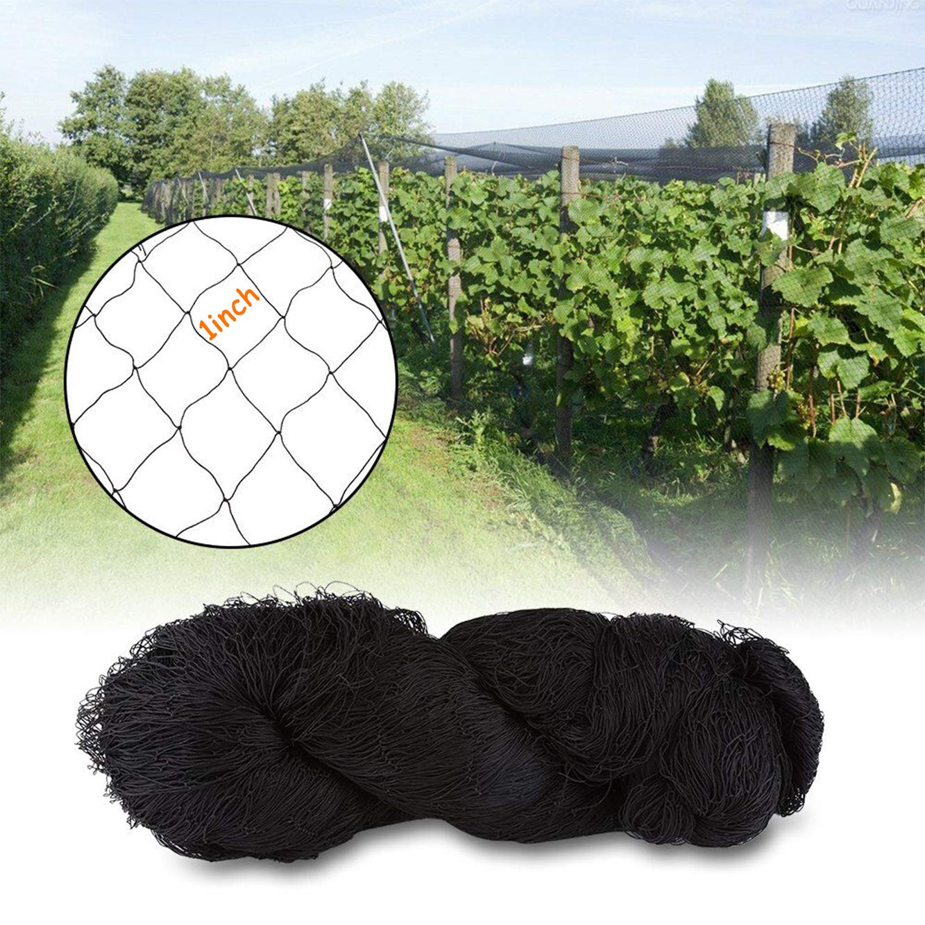 Plants and Vegetables 25 X 50 Net Netting for Bird Poultry Aviary Game Pens New 1 Square Mesh Size to Protect Fruit Trees 25/×50-1