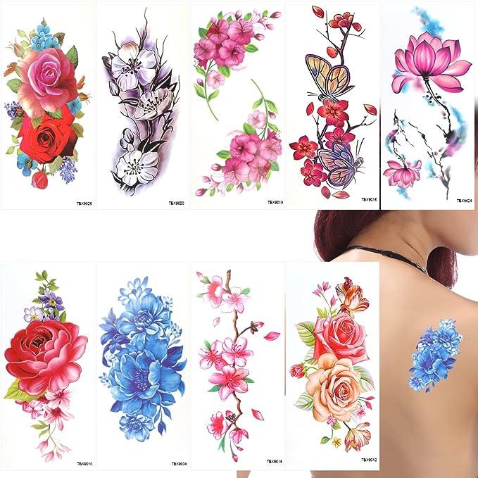 ROSENICE tatuaje temporal del tatuaje 9 hojas mariposa flores de ...