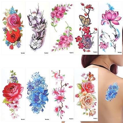 Rosenice Tatuaje Temporal Del Tatuaje 9 Hojas Mariposa Flores De